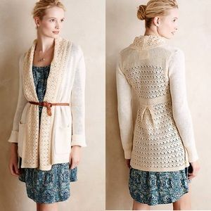 Anthropologie Evenie Chenille Lace Back Cardigan